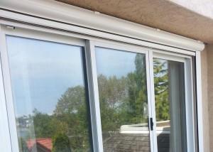 open exterior drop awning on a patio door
