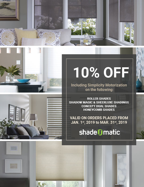 flyer offering 10% off on shade-o-matic products